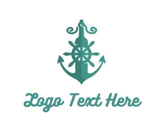 Beach - Marine Anchor logo design