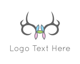 Moose - Flowers & Antlers logo design