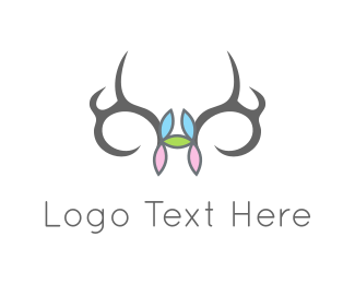 Hunting - Flowers & Antlers logo design