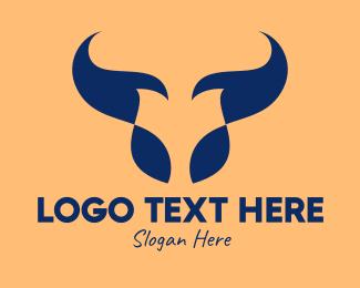 Steak - Abstract Blue Bull Restaurant logo design
