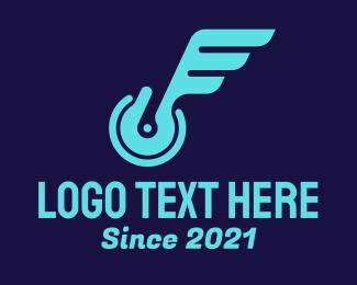 Tyre - Neon Mechanical Wings logo design