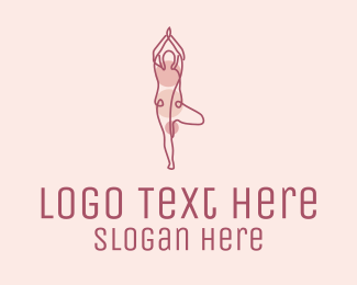 Physical Therapy - Pink Yoga Monoline logo design
