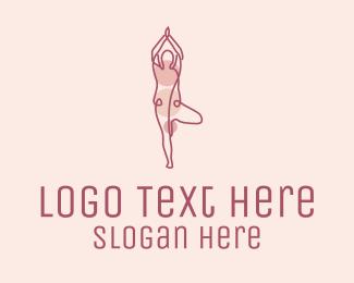 Cardio - Pink Yoga Monoline logo design