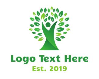 Sauna - Flexible Green Tree logo design