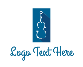 Harp - Blue String Instrument logo design