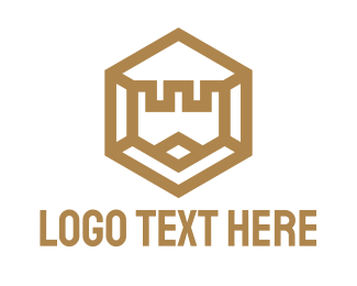 Gold Flag - Gold Hexagon Castle logo design