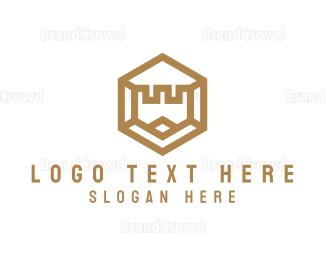 Generic - Gold Hexagon Castle logo design