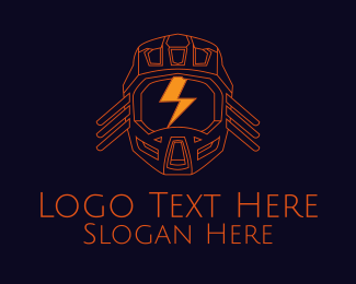 Head Gear - Orange Energy Helmet  logo design