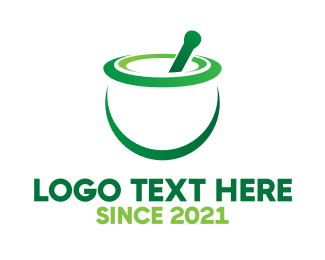Mixing - Green Mortar & Pestle logo design