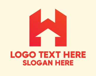 Up - Modern Red Letter H logo design