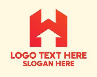 Upward - Modern Red Letter H logo design