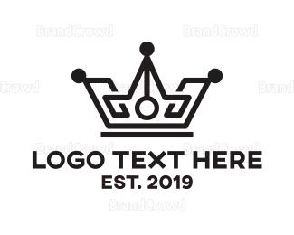 Monarchy - Black Tech Crown logo design