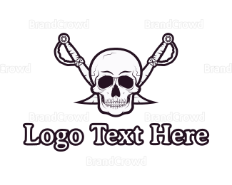 Fun - Pirate Skull & Swords logo design