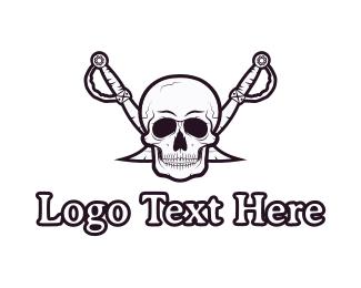 Pirate - Pirate Skull & Swords logo design