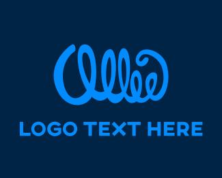 Cursive - Blue Signature logo design