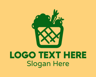 Eggplant - Green Vegetable Basket logo design