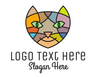 Pink Kitten - Stained Glass Cat logo design