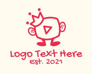 Vlogger - Media Vlogger King logo design
