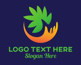 Cannabis Leaf - Cannabis Weed Marijuana Hand logo design