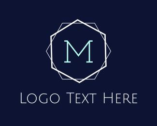 Hexagonal - Minimalist M Emblem logo design