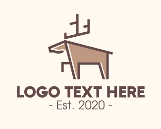 Hunting - Brown Geometric Deer logo design