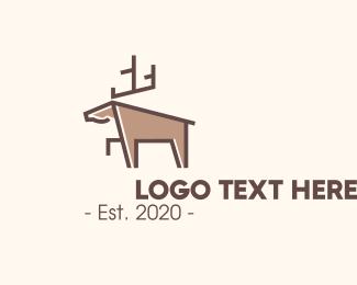 Forest Animal - Brown Geometric Deer logo design