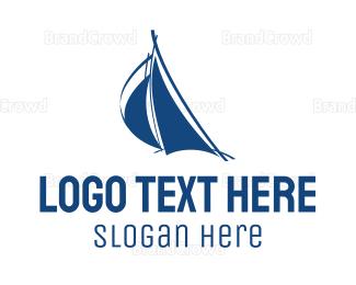 Sailing - Blue Abstract Sail logo design