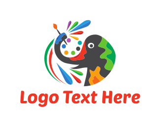 Elephant - Painter Elephant  logo design