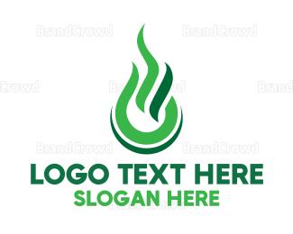 Fire - Green Fire logo design