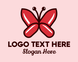 Nail Tech - Red Nail Butterfly logo design