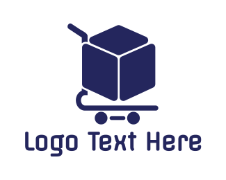 Electronic Store - Box Shopping Cart logo design