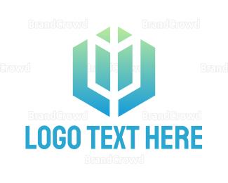 Archer - Gradient Hexagon Arrow logo design