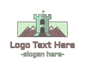 Medieval - Mountain Castle Tower logo design
