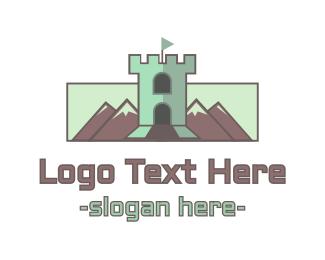 Castle - Mountain Castle Tower logo design
