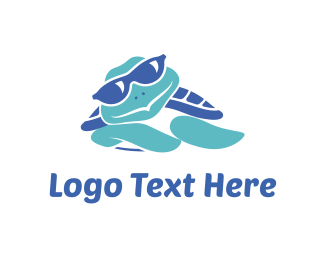 Beach - Blue Turtle Cartoon logo design