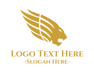 Winged - Mythological Golden Lion logo design