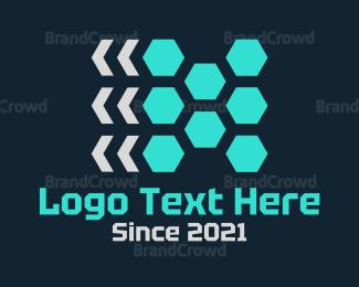 Memorable - Red Hexagons logo design