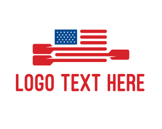 Kayak - American Flag Paddle logo design