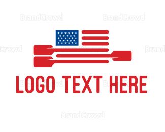 American Flag - American Flag Paddle logo design
