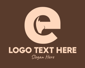 Wild Goat - Brown Ram Head Letter E logo design