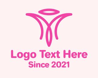 Caregiver - Pink Charity Letter M  logo design