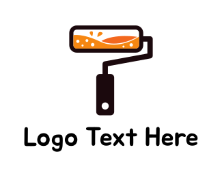 Paint Roller - Orange Paint Roller logo design