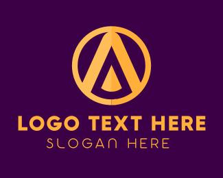 Spartan - Golden Spartan Shield Letter A logo design