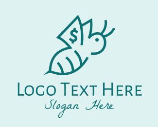 Online Banking - Green Dollar Bee Outline  logo design