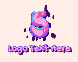 Five - Pop Graffiti Art Number 5 logo design