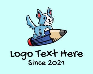 Animation - Pencil Dog Cartoon logo design