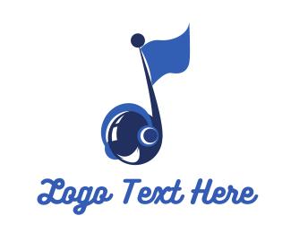 Flag - Music Flag logo design
