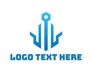 Blue Crown - Digital Blue Outline logo design