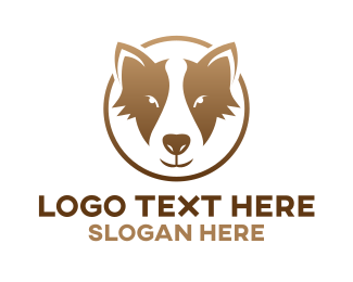 Pet Care - Gold Dog Badge logo design