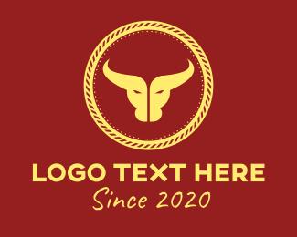 Wild West - Bull Horns Emblem logo design
